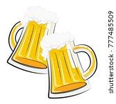 two glasses of lager beer | Shutterstock . vector #777485509