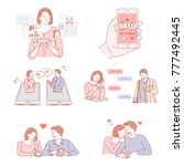couple characters dating on... | Shutterstock .eps vector #777492445