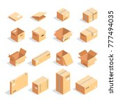 set of boxes in isometric view... | Shutterstock . vector #777494035
