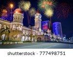 firework over merdeka square in ... | Shutterstock . vector #777498751