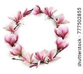 wreath of delicate flowers pink ... | Shutterstock .eps vector #777502855