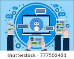 chat bot concept hand holding... | Shutterstock .eps vector #777503431