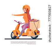 pizza delivery service young... | Shutterstock .eps vector #777503827