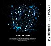 shield polygonal over dark... | Shutterstock .eps vector #777503884
