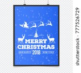 merry christmas card with blue... | Shutterstock .eps vector #777526729