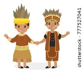 happy boy and girl wearing... | Shutterstock .eps vector #777527041
