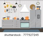 modern kitchen interior with... | Shutterstock .eps vector #777527245