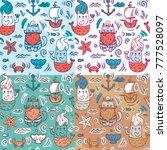 set of cartoon stylized... | Shutterstock .eps vector #777528097