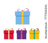 chrismtas set of gift boxes... | Shutterstock .eps vector #777534241
