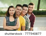 smiling asian young people... | Shutterstock . vector #777540877