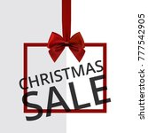chrismtas sale tag with red bow | Shutterstock .eps vector #777542905