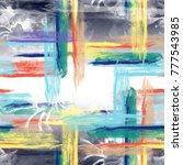 texture brush plaid print ... | Shutterstock . vector #777543985