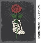 hand and rose traditional... | Shutterstock .eps vector #777544291