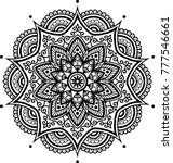 mandala pattern black and white ... | Shutterstock .eps vector #777546661