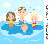 children swim and play in the... | Shutterstock .eps vector #777560899