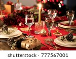 table served for christmas... | Shutterstock . vector #777567001