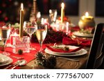 table served for christmas... | Shutterstock . vector #777567007