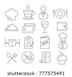 restaurant line icons on white... | Shutterstock .eps vector #777575491
