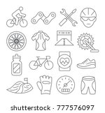 biking line icons on white... | Shutterstock .eps vector #777576097