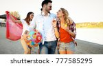 group of young cheerful people... | Shutterstock . vector #777585295