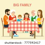 smiling big family sitting at... | Shutterstock .eps vector #777592417