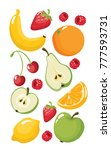 vector poster with funny fruits ...   Shutterstock .eps vector #777593731