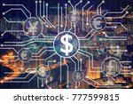 the financial technology or... | Shutterstock . vector #777599815