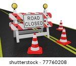 road closed warning sign on a... | Shutterstock . vector #77760208
