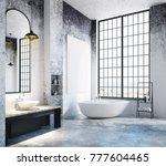 modern loft bathroom interior...   Shutterstock . vector #777604465