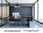 stylish office interior with... | Shutterstock . vector #777607147