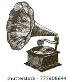 hand drawn gramophone  sketch.... | Shutterstock .eps vector #777608644