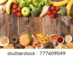 fast food or health food | Shutterstock . vector #777609049