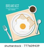top view of breakfast with cup... | Shutterstock .eps vector #777609439