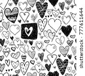 funny doodle hearts icons... | Shutterstock . vector #777611644