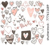 funny doodle hearts icons...   Shutterstock . vector #777611689