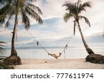 relaxation and rest. a girl in... | Shutterstock . vector #777611974