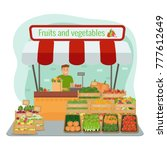 local farm fruits and... | Shutterstock .eps vector #777612649