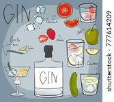 vector. drawing by hand. bottle ... | Shutterstock .eps vector #777614209