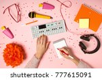 birthday party flat lay with... | Shutterstock . vector #777615091