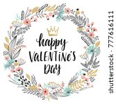 valentine s day callygraphic... | Shutterstock .eps vector #777616111