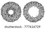 christmas wreath.  hand drawn... | Shutterstock . vector #777616729
