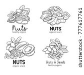 banners with hand drawn nuts... | Shutterstock .eps vector #777617761