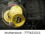 bitcoin in a soap bubble on pc... | Shutterstock . vector #777621211