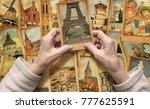 old female hands hold vintage... | Shutterstock . vector #777625591