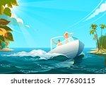 people on boat in ocean  vector ... | Shutterstock .eps vector #777630115