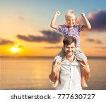 happy family on the beach | Shutterstock . vector #777630727