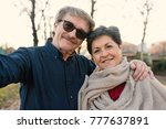 romantic senior couple portrait ... | Shutterstock . vector #777637891