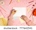 colorful pink background with... | Shutterstock . vector #777642541