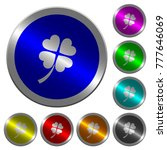 four leaf clover icons on round ... | Shutterstock .eps vector #777646069