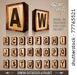 vintage domino style alphabet... | Shutterstock .eps vector #77765521